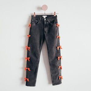 One Of A Kind Bow Dark Grey Denim Jeans